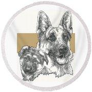 German Shepherd And Pup Round Beach Towel