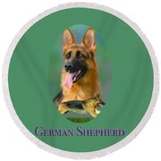 German Shepherd With Name Logo Round Beach Towel