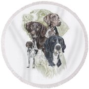 German Shorted-haired Pointer Revamp Round Beach Towel