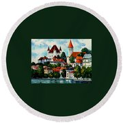 Germany - Clouds Above The Rhine Round Beach Towel