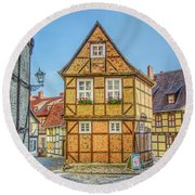 Germany - Half-timbered Houses And Alleys In Quedlinburg Round Beach Towel