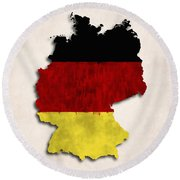 Germany Map Art With Flag Design Round Beach Towel