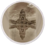 Germany - Monument To The Battle Of The Nations In Leipzig, Saxony, In Sepia Round Beach Towel