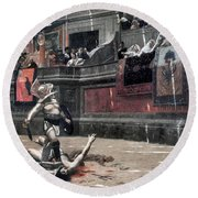 Gerome: Gladiators, 1874 Round Beach Towel