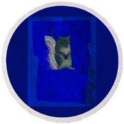 Gershwin The Cyan Squirrel Round Beach Towel