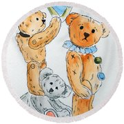 Get Ready Teddy Round Beach Towel
