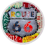 Get Your Kicks On Route 66 Recycled Vintage State License Plate Art By Design Turnpike Round Beach Towel