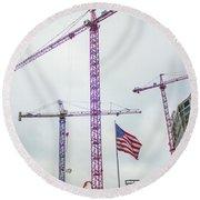 Getter Done Tower Crane Construction Art Round Beach Towel