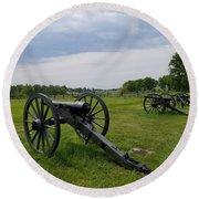 Gettysburg Battlefield Cannons Round Beach Towel