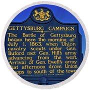 Gettysburg Campaign Round Beach Towel