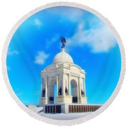 Gettysburg Memorial In Winter Round Beach Towel