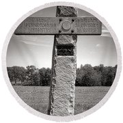 Gettysburg National Park 142nd Pennsylvania Infantry Monument Round Beach Towel