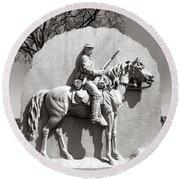 Gettysburg National Park 17th Pennsylvania Cavalry Monument Round Beach Towel