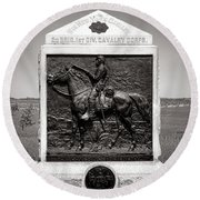 Gettysburg National Park 9th New York Cavalry Monument Round Beach Towel