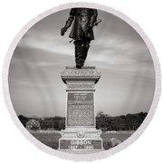 Gettysburg National Park John Gibbon Monument Round Beach Towel