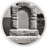 Gettysburg National Park Third West Virginia Cavalry Monument Round Beach Towel