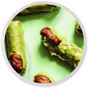 Ghastly Green Halloween Finger Food Round Beach Towel