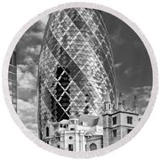 Gherkin And St Andrew's Black And White Round Beach Towel