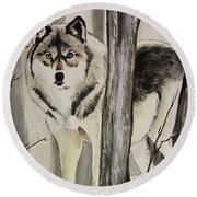 Ghost In The Woods Round Beach Towel