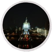 Ghost Lights Of Pa State Capital   # Round Beach Towel