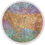 Ghost Of A Cow Round Beach Towel by James W Johnson
