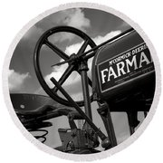 Ghost Of Farmall Past Round Beach Towel