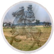 Ghost Of Gettysburg Round Beach Towel by Randy Steele