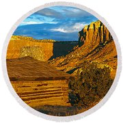 Ghost Ranch At Sunset, Abiquiu, New Round Beach Towel