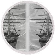 Ghost Ship - Gently Cross Your Eyes And Focus On The Middle Image Round Beach Towel