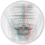 Ghost Ship - Use Red-cyan 3d Glasses Round Beach Towel
