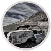Ghost Town Junked Car Round Beach Towel