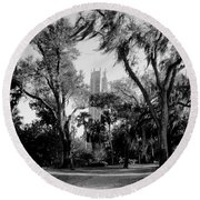 Ghostly Bok Tower Round Beach Towel
