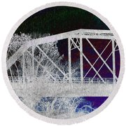 Ghostly Bridge Round Beach Towel