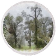 Ghostly Images Round Beach Towel