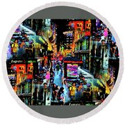 Ghostly Shopping Center Round Beach Towel