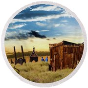 Ghostly Town 2 Round Beach Towel