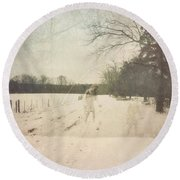 Ghosts And Shadows I Round Beach Towel