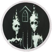 Ghosts Of American Gothic Round Beach Towel