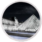 Ghosts Of The Louvre Museum  Art Round Beach Towel