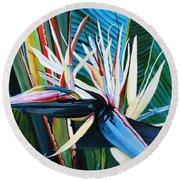 Giant Bird Of Paradise Round Beach Towel