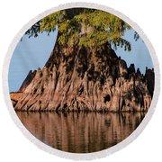 Giant Cypress Tree In Reelfoot Lake Round Beach Towel