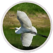 Giant Egret Grace Round Beach Towel