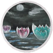 Giant Lilies Upon Misty Waters Round Beach Towel