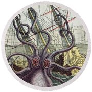 Giant Octopus Round Beach Towel by Denys Montfort