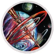 Giant, Old Red Space Shuttle Of Alien Civilization Round Beach Towel