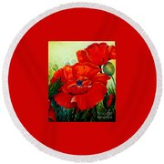 Giant Poppies 3 Round Beach Towel