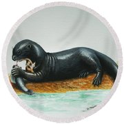 Giant River Otter Round Beach Towel