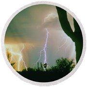 Giant Saguaro Cactus Lightning Storm Round Beach Towel