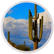Giant Saguaro In The Southwest Desert  Round Beach Towel