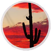 Giant Saguaro  Southwest Desert Sunset Round Beach Towel